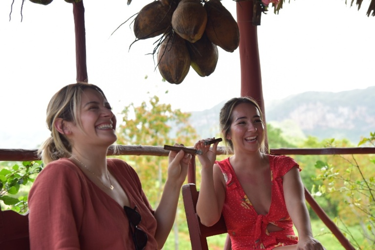 American Girls Enjoying Cigars In Vinales Cuba