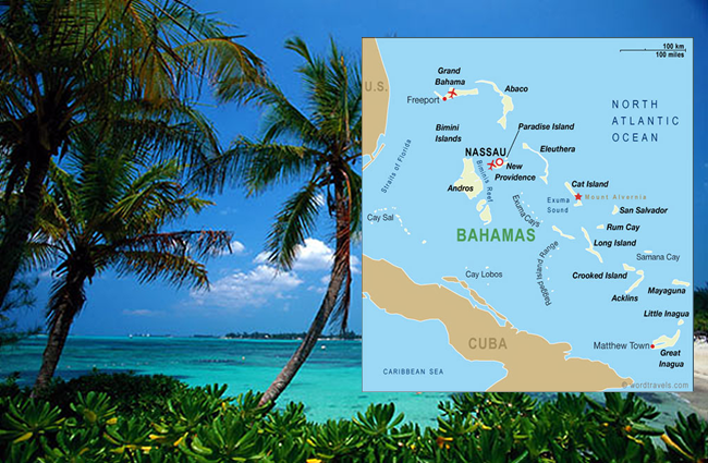 Fly fishing map Bahamas